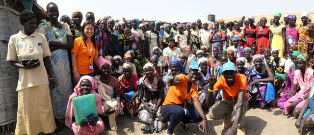 Women in South Sudan with Peacekeepers